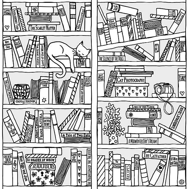 책장, 슬리핑 자본가 (원활한 배경 - 책장 stock illustrations