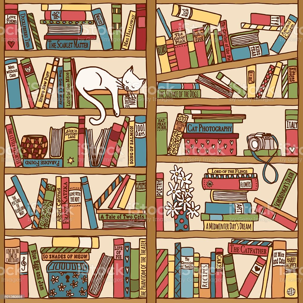 Bookshelf with sleeping cat (seamless background) royalty-free bookshelf with sleeping cat stock vector art & more images of 2015
