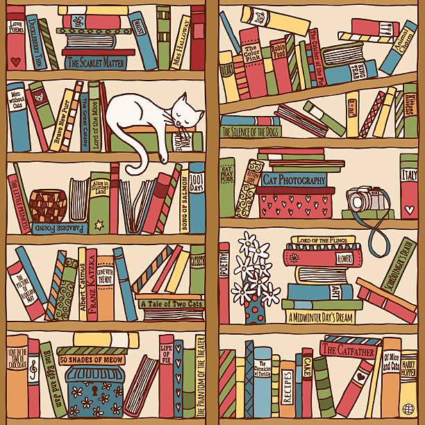 Bookshelf with sleeping cat (seamless background) vector art illustration