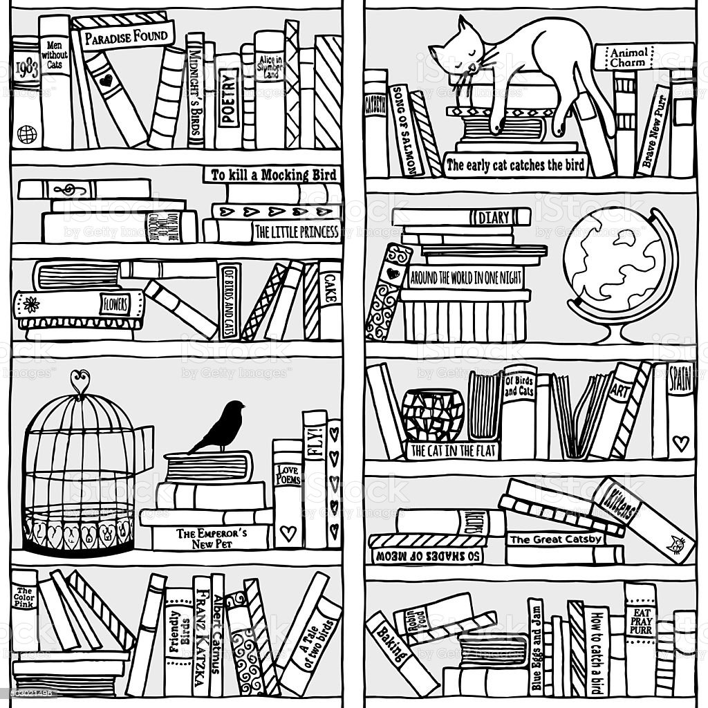 Bookshelf with sleeping cat (seamless background) vector art illustration