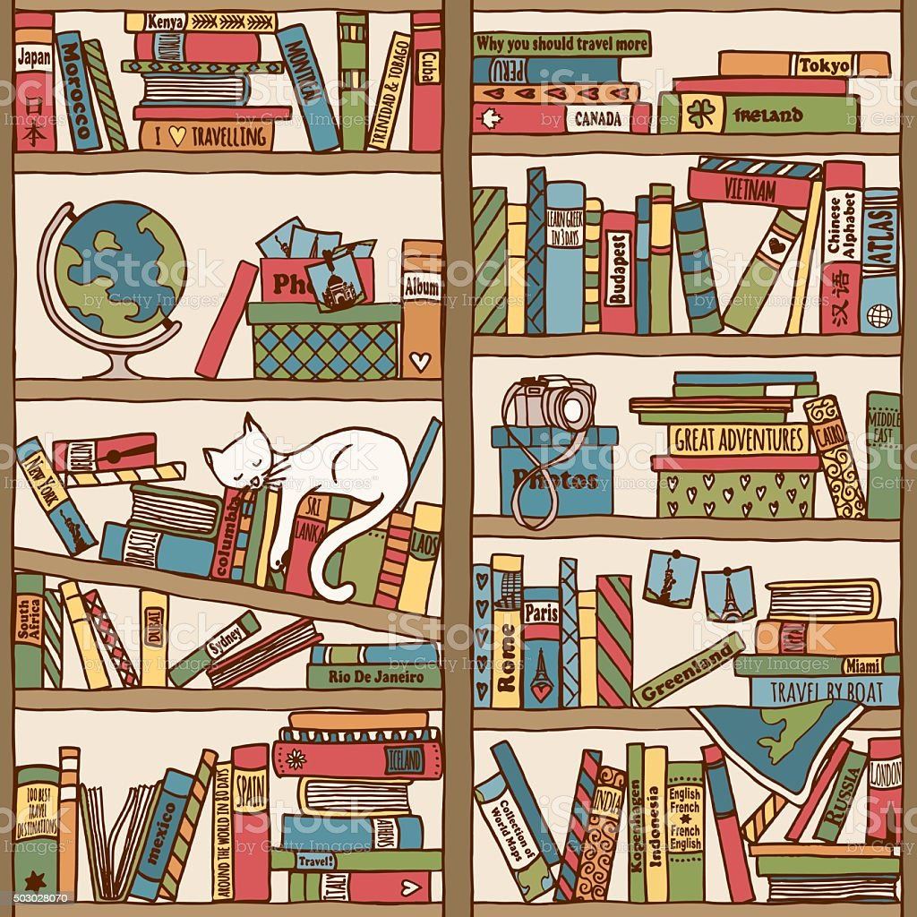 Bookshelf with travel books and sleeping cat stock vector art more animal bookshelf domestic cat globe navigational equipment map gumiabroncs Choice Image