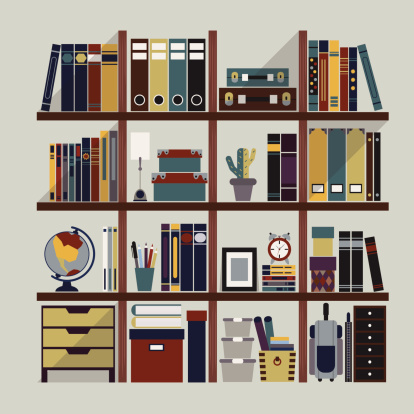 Bookshelf with various objects - Flat design
