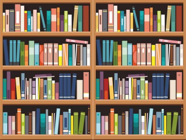 bookshelve도 서 배경, 도서관 교육 - 책장 stock illustrations
