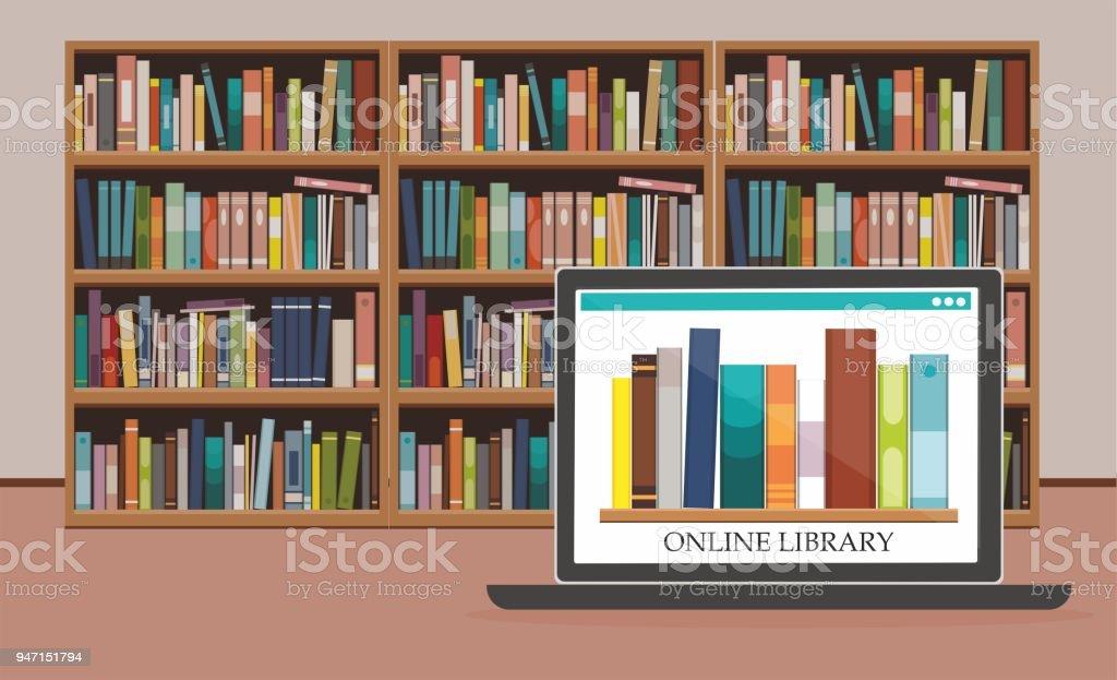 Bücherregal Mit Büchern Über Computerbildschirm Am ...