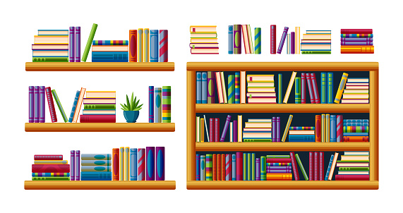 Bookshelves for home library. Piles of bestsellers with shelves, racks and bookcases. Cartoon vector illustration