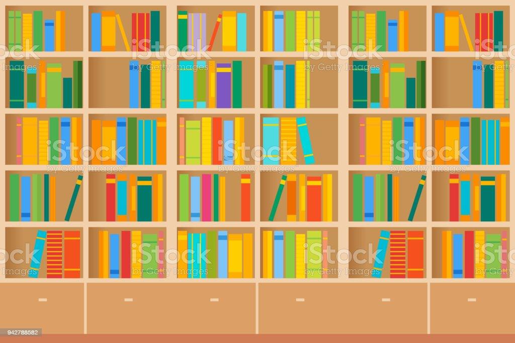 Ilustraci n de estanter as llenas de libros en la - Estanterias metalicas para libros ...