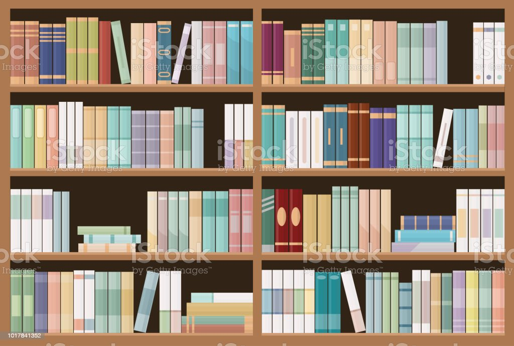 Bookshelves Full Of Books Education Library And Bookstore Concept Seamless Pattern Royalty