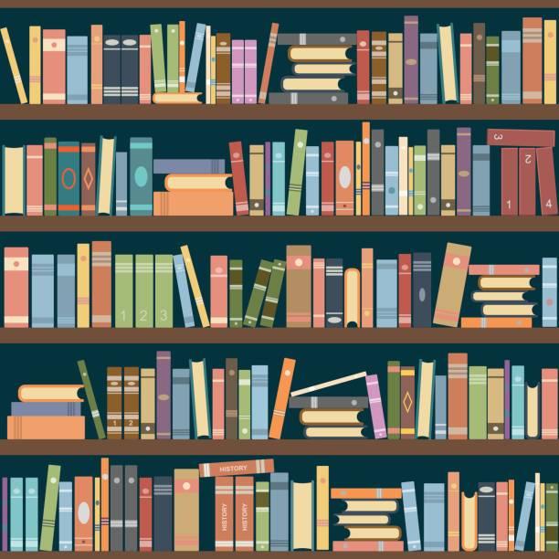 Bookshelves Bookshelves full of books both in the library. Vector illustration. book backgrounds stock illustrations