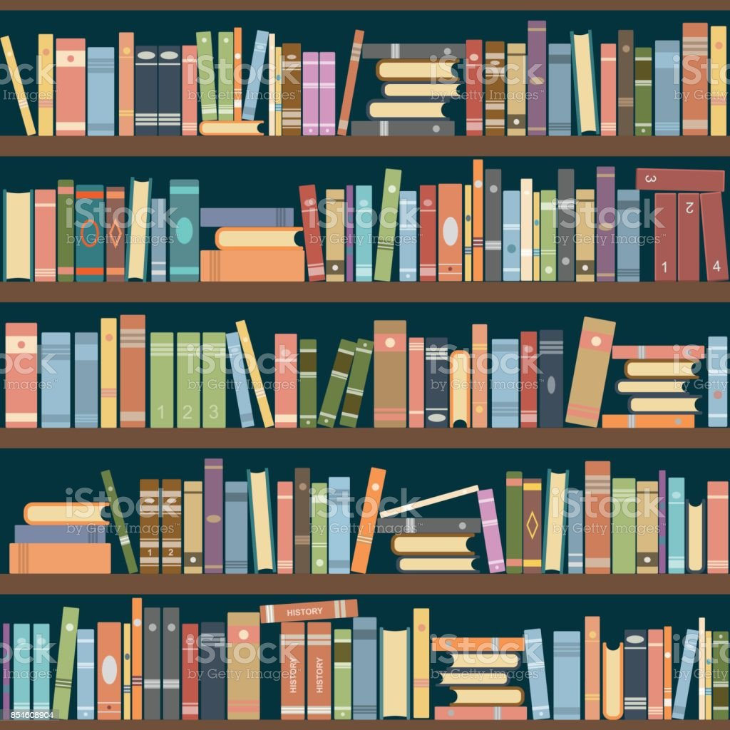 Bookshelves vector art illustration