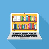 Bookshelves with books on laptop screen. Online digital library