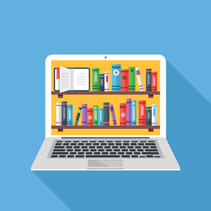 Bookshelves With Books On Laptop Screen Online Digital Library Stock Illustration - Download Image Now