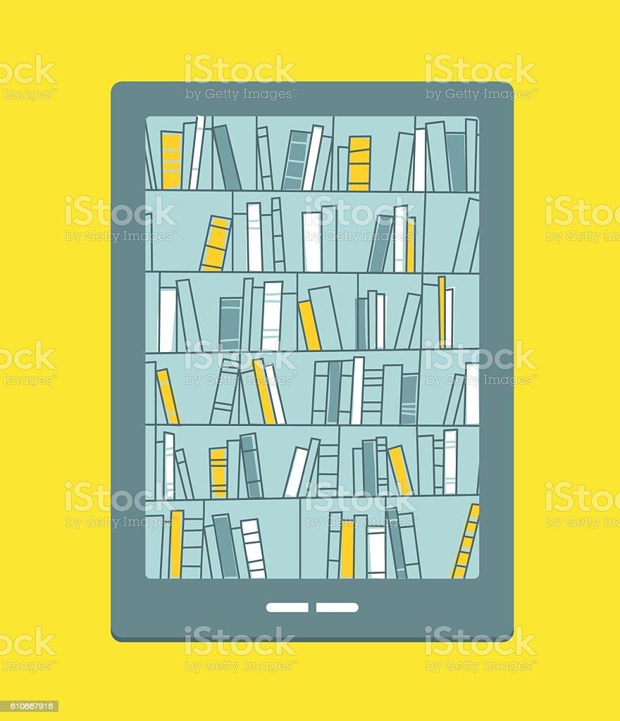 Bookshelves with books on smartphone screen. Digital library. vector art illustration