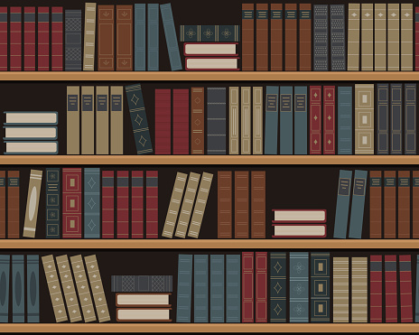 Bookshelves with books. Seamless background