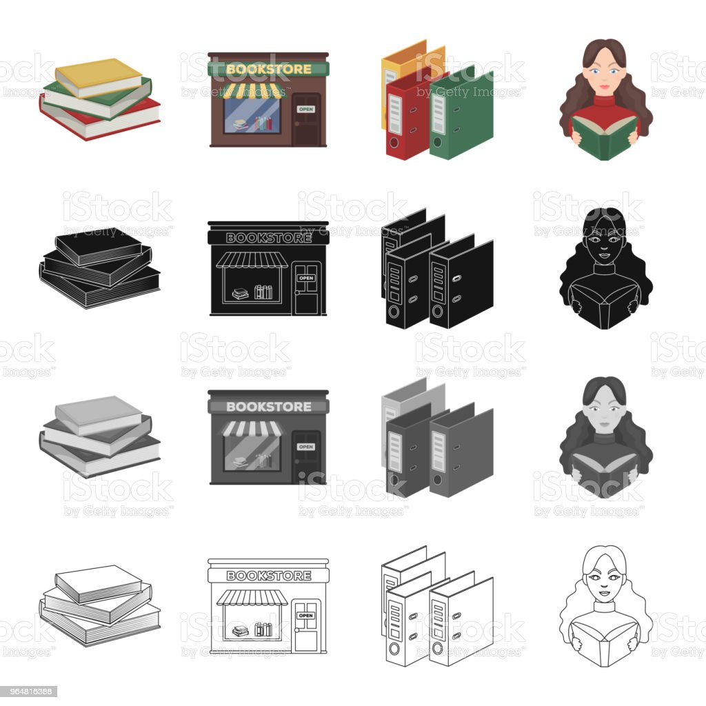 A bookstore, a stack of books in the library, a folder with a sticker, a girl with a book. Library set collection icons in cartoon black monochrome outline style vector symbol stock illustration web. royalty-free a bookstore a stack of books in the library a folder with a sticker a girl with a book library set collection icons in cartoon black monochrome outline style vector symbol stock illustration web stock vector art & more images of book