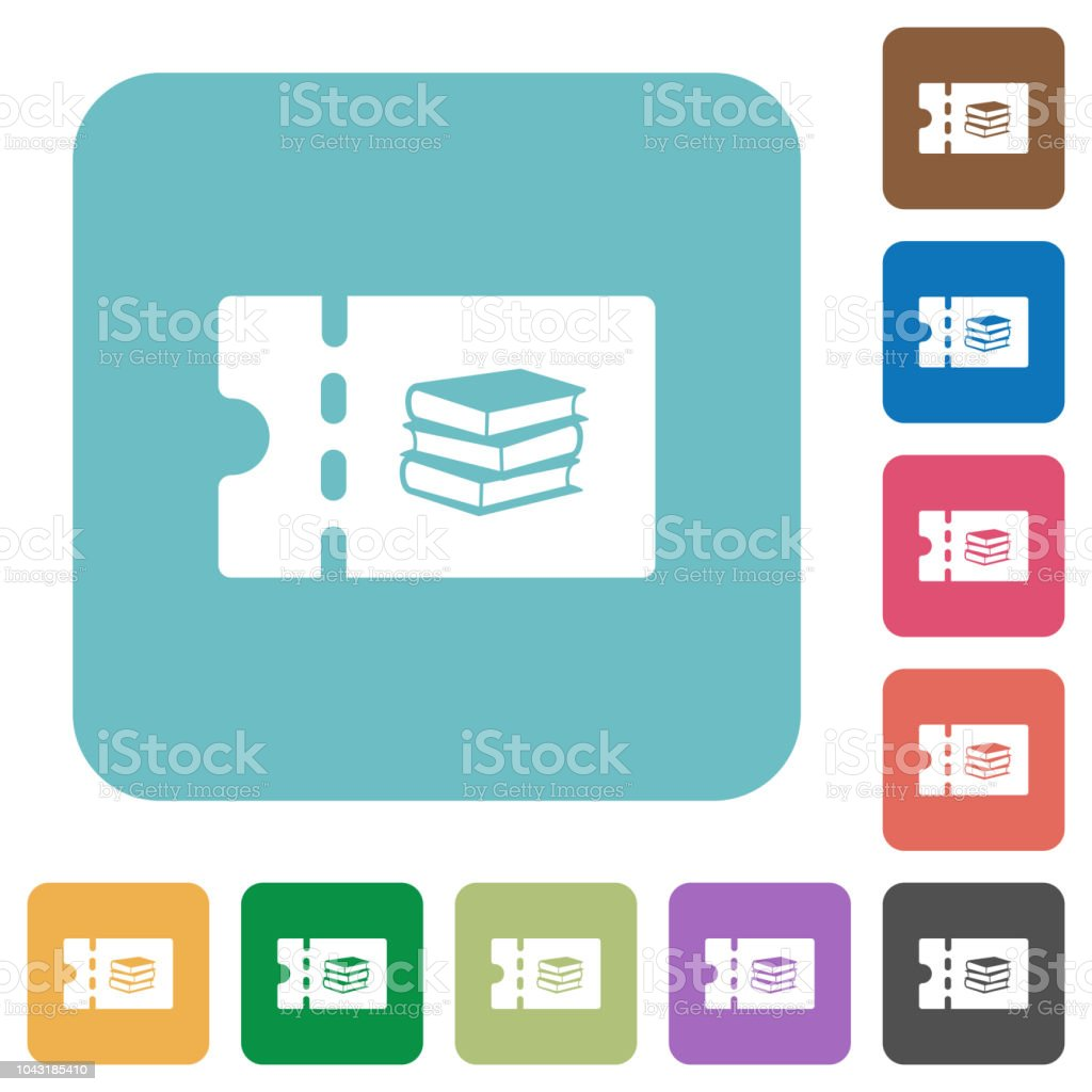 Bookstore discount coupon rounded square flat icons