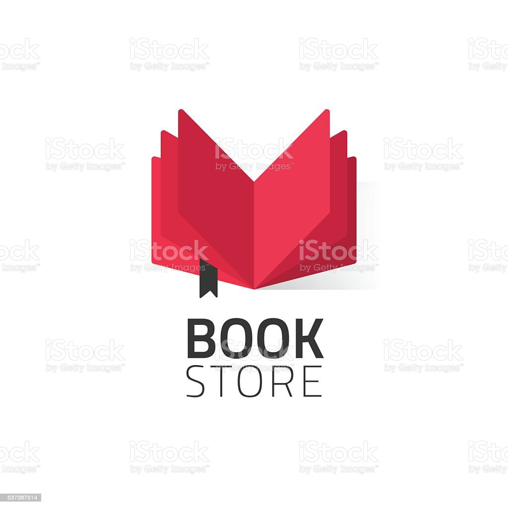 Bookstore logo vector illustration isolated on white, open book logotype vector art illustration