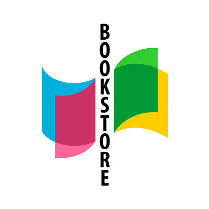 Bookstore logo with colorful overlay transparent book pages and vertical text.