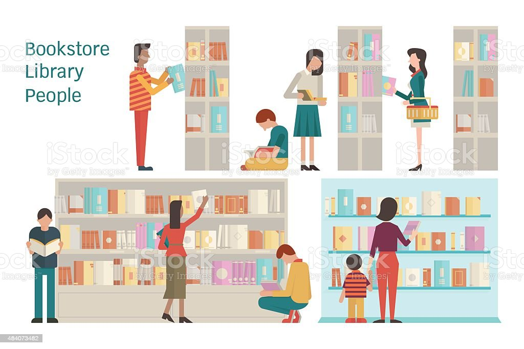 Bookstore vector art illustration