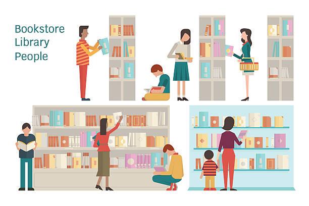 Bookstore vector art illustration