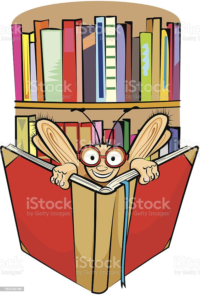 bookworm and library royalty-free stock vector art