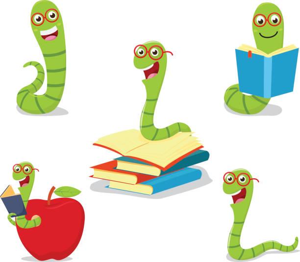 bookworm cartoon collection set Vector Illustration of bookworm cartoon collection set worm stock illustrations