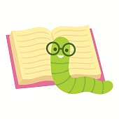 Bookworm cartoon illustration