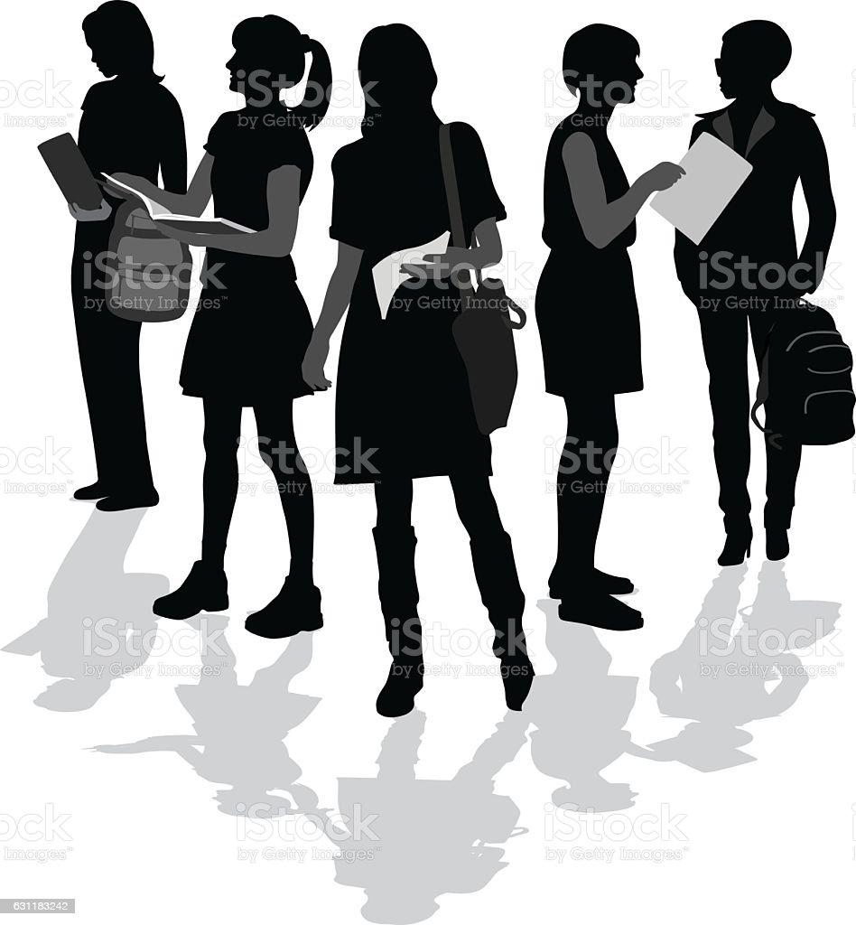 Bookworm College Students vector art illustration