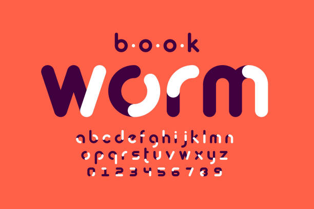Bookworm font Modern style font design, alphabet letters and numbers vector illustration annelid stock illustrations