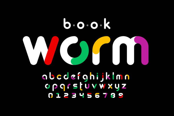 Bookworm font vector art illustration