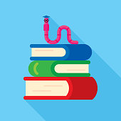 Vector illustration of a bookworm with graduation hat, on top of a stack of books against a blue background in flat style.