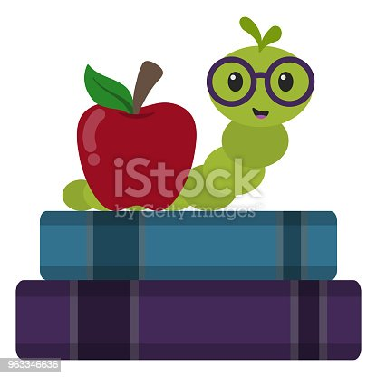 Bookworm wearing glasses next to apple on top of stack of books
