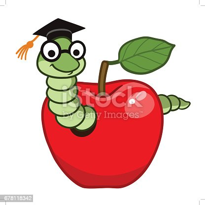 Vector hand drawn cartoon character illustration of a happy friendly bookworm in a red apple, wearing graduation cap and eyeglasses. Design element for school education concept.