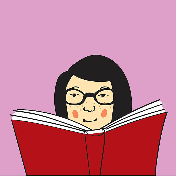 Bookworm Reading Young woman or girl with freckles and glasses being a bookworm and reading a big red book. Copy space provided book club stock illustrations