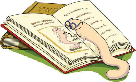 Bookworm With Spectacles and Open Book.