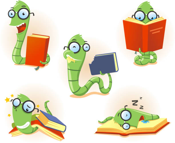 Bookworm Worm book Story telling Studying Eating Reading set Illustration about a funny bookworm set, with Bookworm Worm book Story telling Studying Eating Reading set vector illustration.  worm stock illustrations