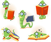 Bookworm Worm book Story telling Studying Eating Reading set