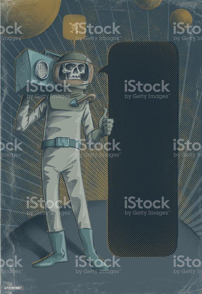 Boom Box astronaut! vintage scifi! royalty-free stock vector art