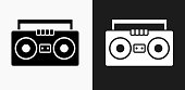 Boom box Icon on Black and White Vector Backgrounds