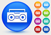 Boom box Icon on Shiny Color Circle Buttons