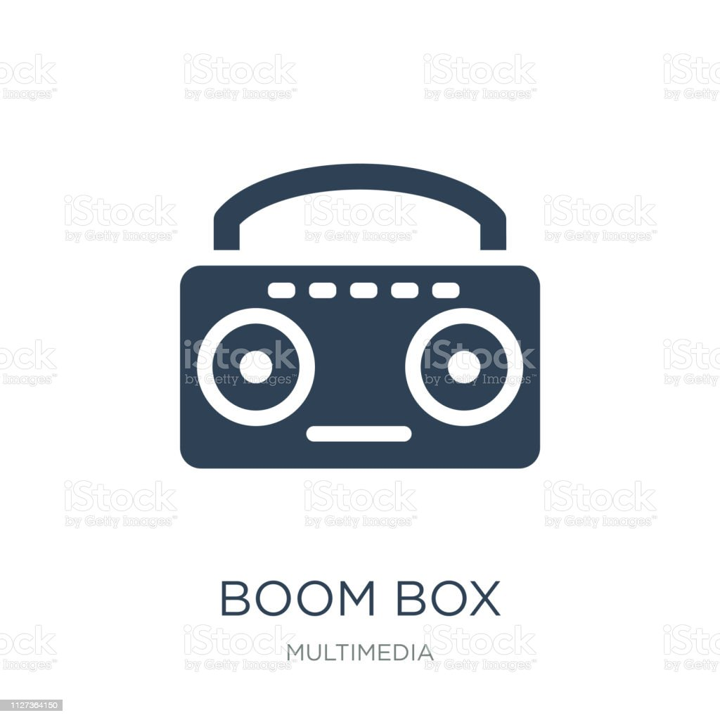 boom box icon vector on white background, boom box trendy filled...