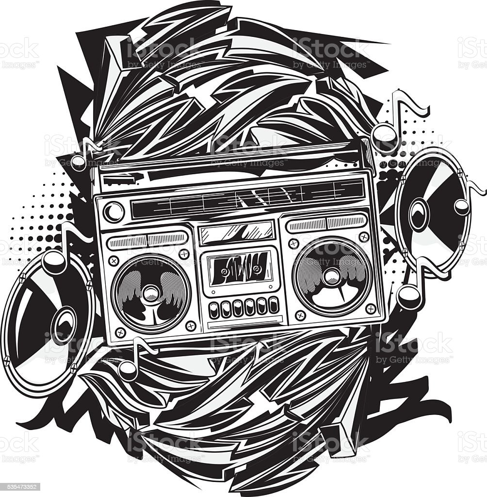Boom box in graffiti style vector art illustration