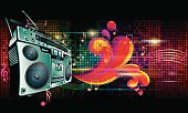 Boom box on bright colorful background