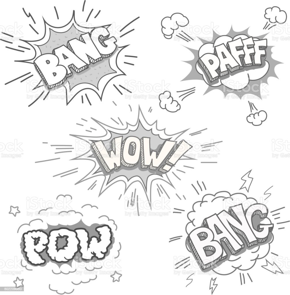 Boom. Comic book explosion set vector art illustration