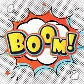 Boom. Comic book page, speech bubble, explosion. Pop art