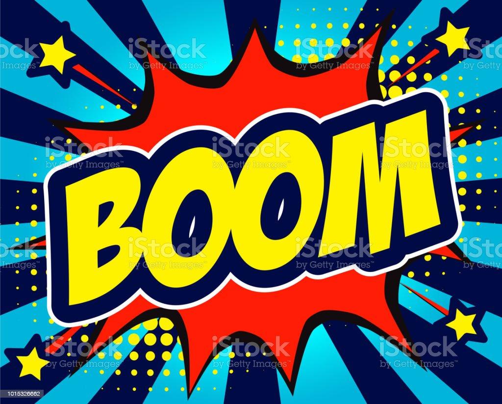 Boom Comic Text In Speech Bubble Colored Pop Art Style Sound