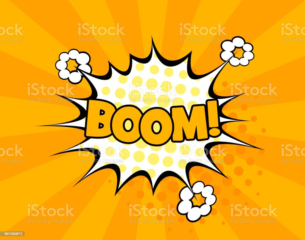 Boom Comic Text Speech Bubble Vector Isolated Template Sound