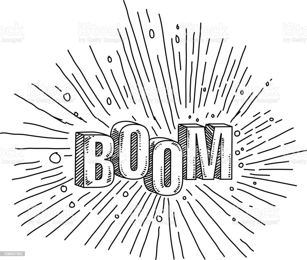 Boom Text Drawing vector art illustration