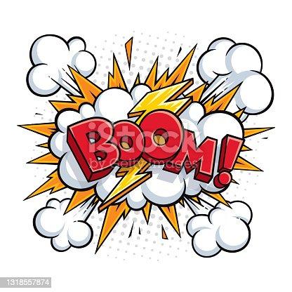 istock Boom! Vector comic speech bubble effect. 1318557874
