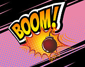 Boom. Vector Retro Comic Speech Bubble, Cartoon Comics Template. Mock-up of Comic Book Design Elements. Sound Effects, Colored Halftone Background. Boom bomb sound