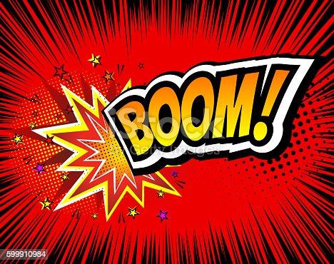 istock Boom. Vector Retro Comic Speech Bubble, Cartoon Comics Template. Mock 599910984